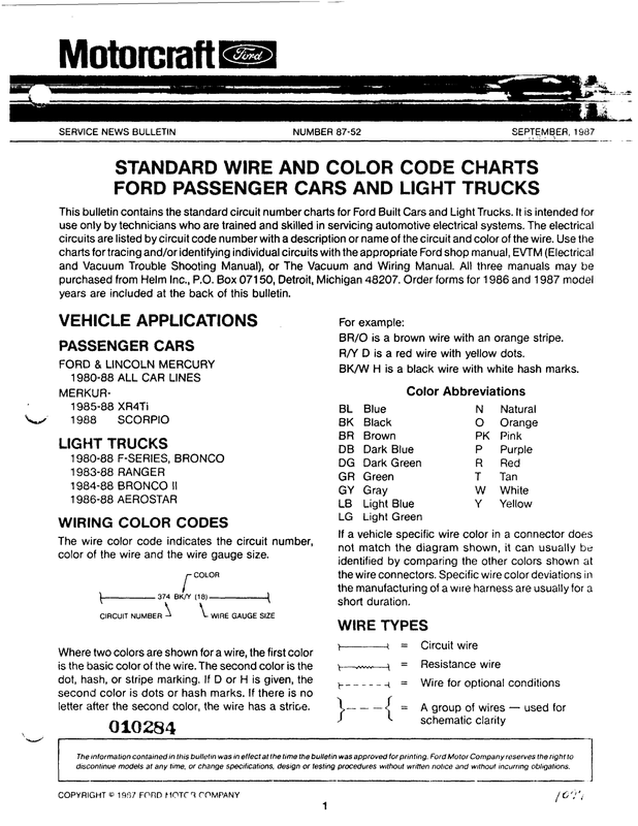 Standard Wire And Color Codes - Gary's Garagemahal (the ... on 86 bronco parts, 86 bronco vacuum diagram, 86 bronco eec pin, 87 bronco wiring diagram,